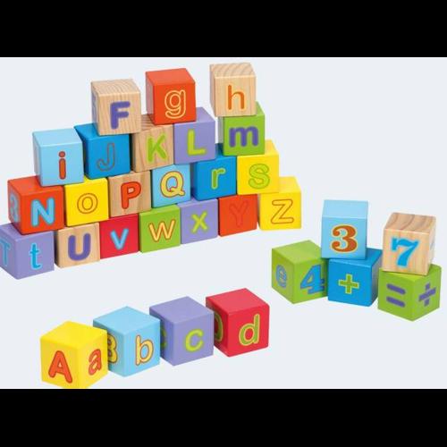 Image of Joueco 30 træklodser med tal og bogstaver