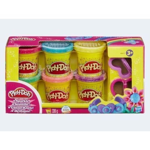 Image of Play Doh modellervoks med glimmer 6 farver