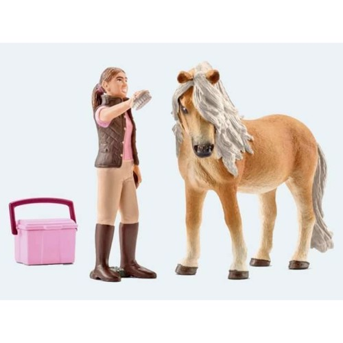 Image of   Schleich, Island Pony hoppe med pige