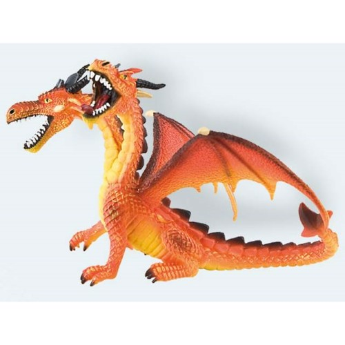 Image of   Bullyland Figur, drage 13cm med to hoveder orange