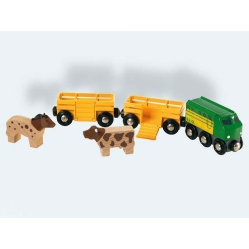 Image of BRIO bondegårdstog med to vogne og to dyr