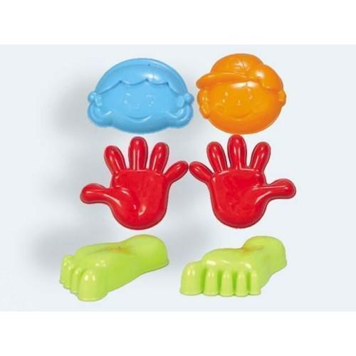 6 Sandforme 10-14cm, Hånd, Fod Og Ansigt