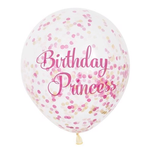 Image of Confetti Balloner, 6 stk prinsesse