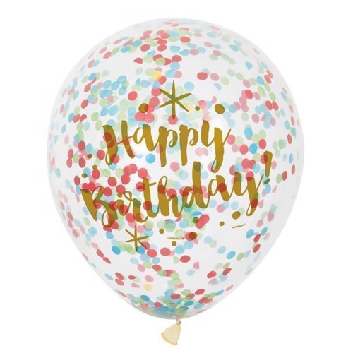Image of Confetti Balloner Happy Birthday, 6stk