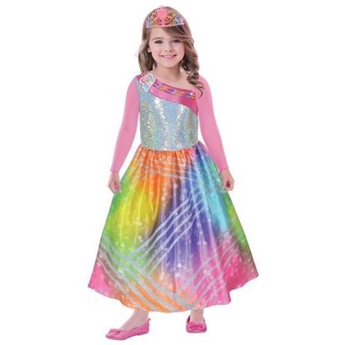 Image of Udklædning Barbie Regnbuekjole 5-7 År