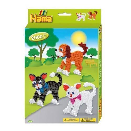 Image of Hama perlesæt med hunde og katte, 2000 stk (0028178034337)