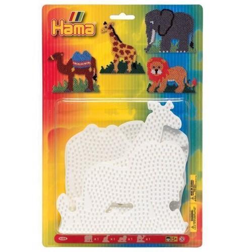 Image of Hama perleplade, 4 stk, løve, giraf, kamel, elefant (0028178045548)