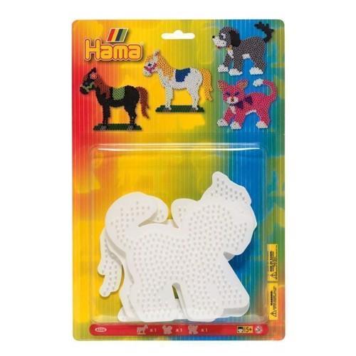 Image of Hama perleplade, 3 stk, kat, hest, hund (0028178045562)