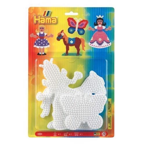 Image of   Hama perleplader, prinsesse, hest, sommerfugl