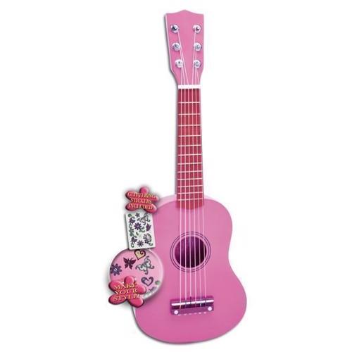 Image of   Bontempi guitar i træ, lyserød