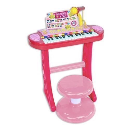 Image of Bontempi Keyboard med mikrofon og skammel, lyserød (0047663334837)