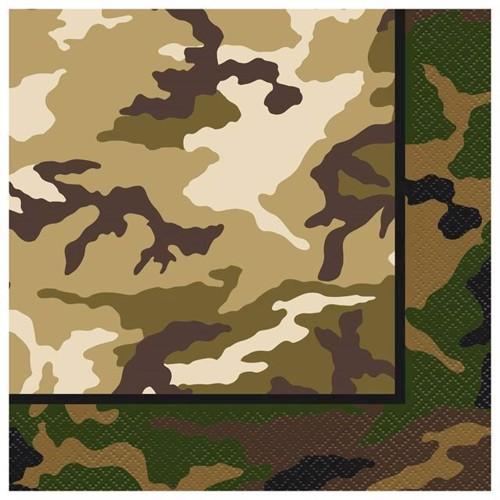 Image of   Servietter camuflage, 16 stk