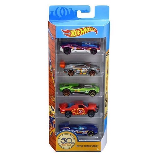 Image of Hot Wheels biler, 50 års jubilæum, 5 stk (0887961673388)