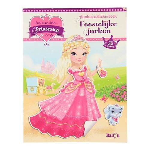 Image of   1,2,3 Princesse i festlig kjole, klistermærkebog