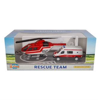 Image of 2-Play Die-cast Emergency Service Ambulance and Helicopter