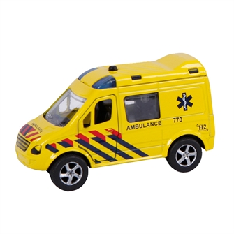 Image of 2-Play Die-cast Pull Back Ambulance NL med lys og lyd (8713219329542)