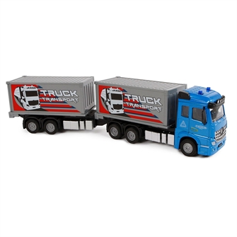 Image of 2-Play Die-cast Pull Back lastbil med Trailer, 29cm (8713219374214)