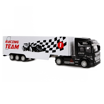 Image of 2-Play Die-cast Pull Back lastbil med Trailer, 31cm (8713219366561)