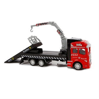 Image of 2-Play Die-cast transport lastbil med kran, 19cm (8713219366585)