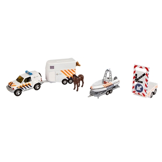 Image of 2-Play Police Cars with Trailers and Arrow Car