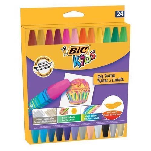Image of   BIC Kids, olie farvekridt, pastel farver 24 stk