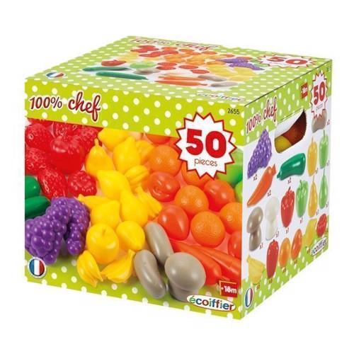 Image of   Ecoiffier legemad, kasse med frugt og grøntsager, 50 dele