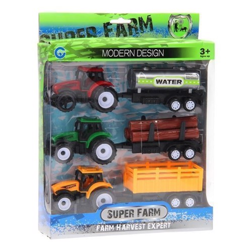 Image of Traktor med trailer, 3 stk (3800966005388)