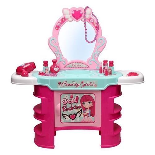 Image of   Pink sminkebord med lys