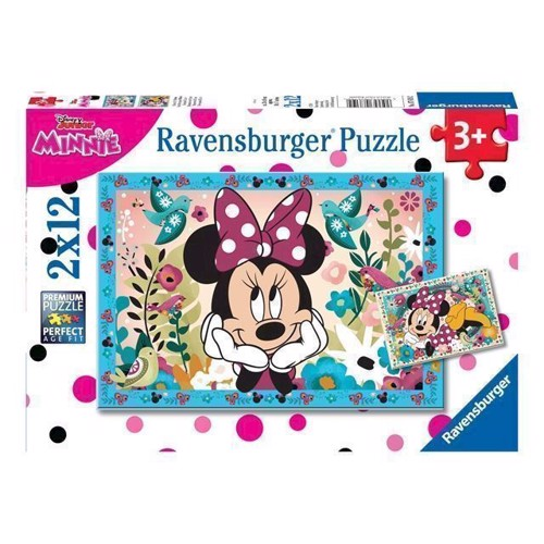 Image of Puslespil Minnie Mouse, blomster, 2 x 12 brikker