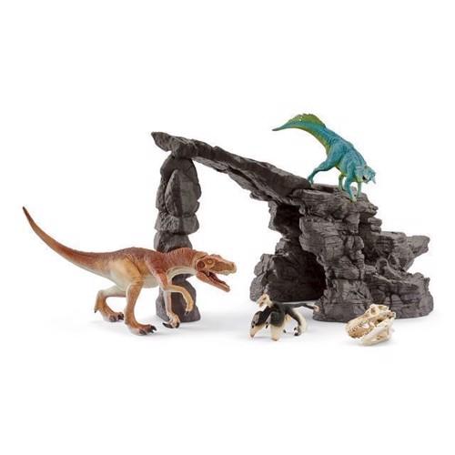 Image of Schleich Dinosaur sæt med hule og dinosaur (4055744023118)