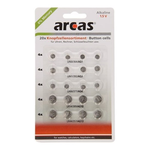 Image of ARCAS Alkaline Knapbatterier, 20 stk
