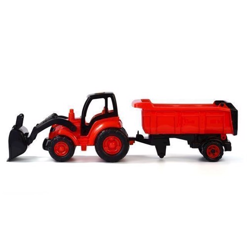 Image of   Wader traktor med frontlæsser og trailer