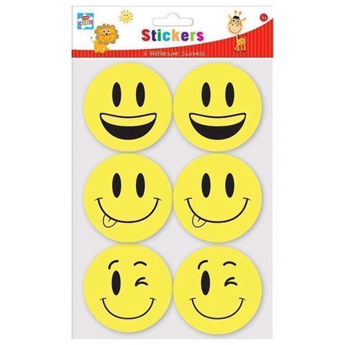Image of   Klistermærker med smiley, 6 stk