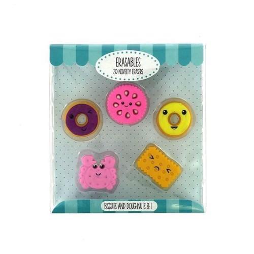 Image of   Viskelæderm, kiks og donuts, 5 stk