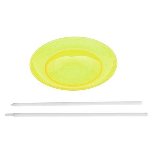 Image of Jongler tallerken med pind, gul