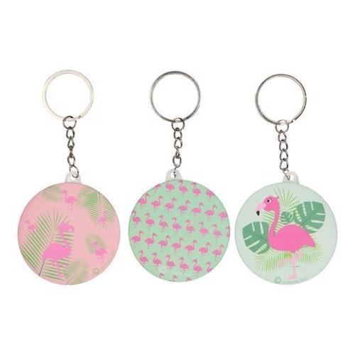 Image of Nøglering med spejl, flamingo, 1 stk (5413247097880)
