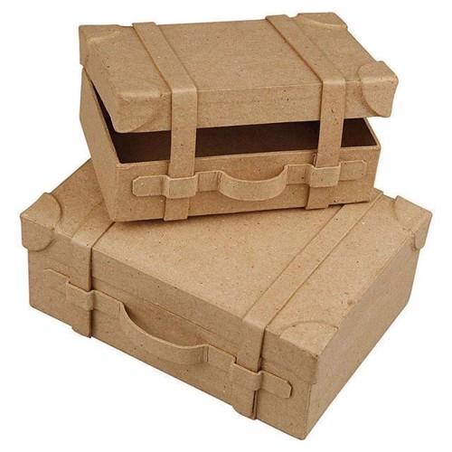 Image of Papmache kuffert 2 stk, håndlavet
