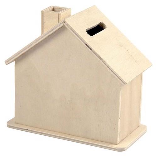 Image of Sparegris i træ, hus (5707167945223)