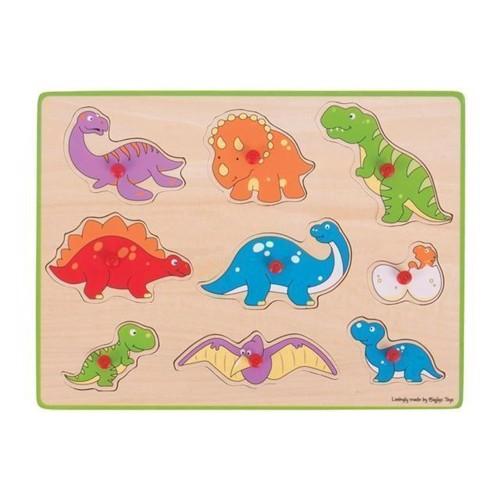 Image of   Knoppuslespil med dinosaur, 9 dele