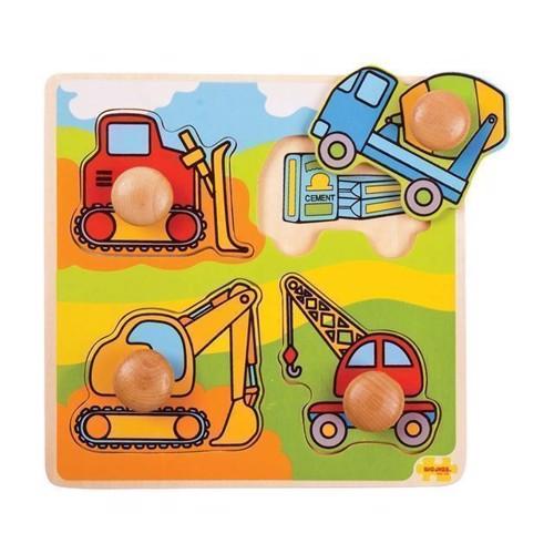 Image of   Knoppuslespil, byggeplads køretøjer 4 dele