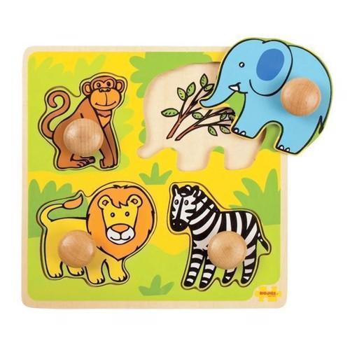 Image of   Knoppuslespil, safari 4 dele