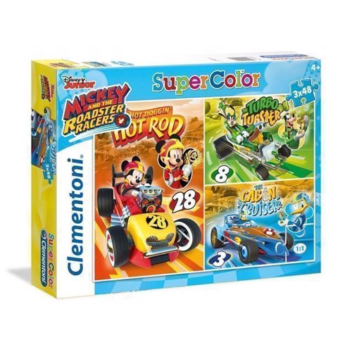 Image of Puslespil Mickey Roadster Racers, 3x48 brikker (8005125252275)