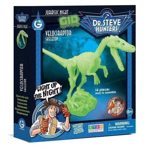 Image of Geoworld selvlysende dinosaur byggesæt, Velociraptor (8033576219851)