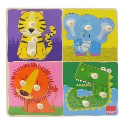 Image of   Knoppuslespil med jungle dyr