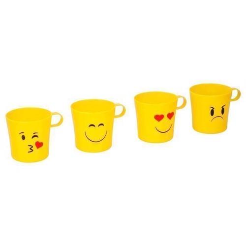 Image of Drikke kop med ansigter, 4 stk, plastik (8711252052922)