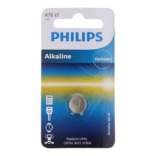 Image of Philips Alkaline button cell battery LR44 / 76A