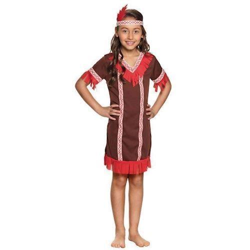 Image of Børne kostume Indianer, pige 4-6 år (8712026822635)