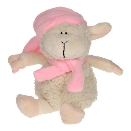 Image of   Bamse, får med tørklæde og hat, lyserød