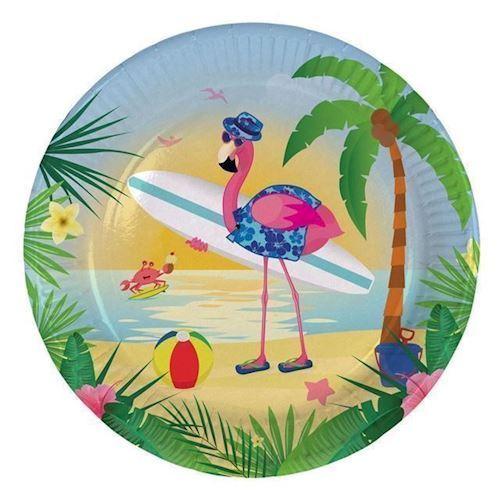 Image of Tallerkner flamingo 8 stk (8714572653404)