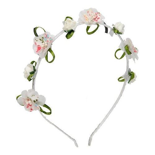 Image of   Diadem, pandebånd, med blomst, hvid